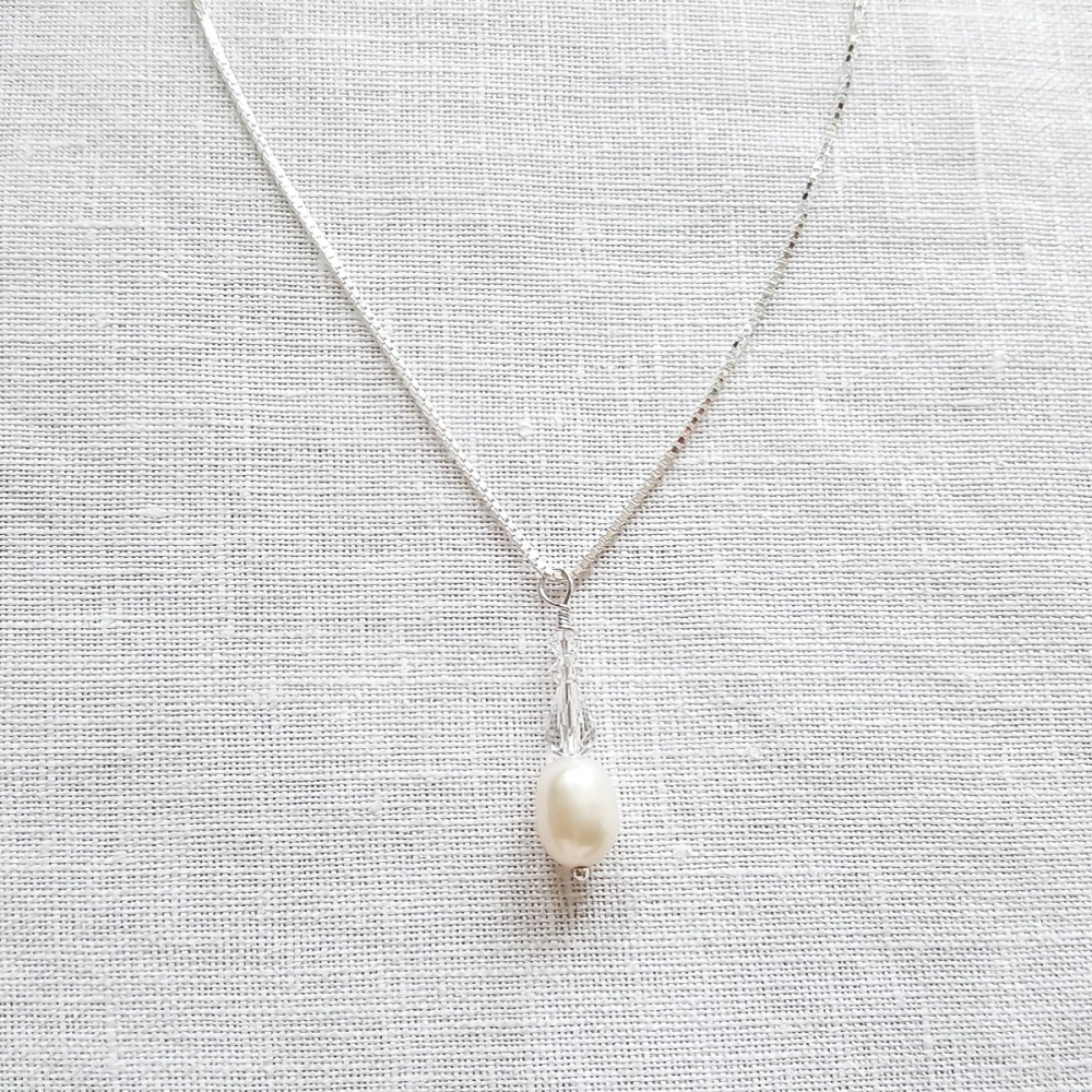 Pearl and Crystal Teardrop Necklace