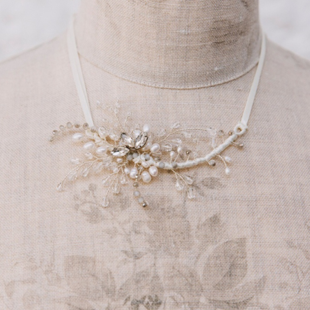 Diamante and Pearl Fern Statement Necklace