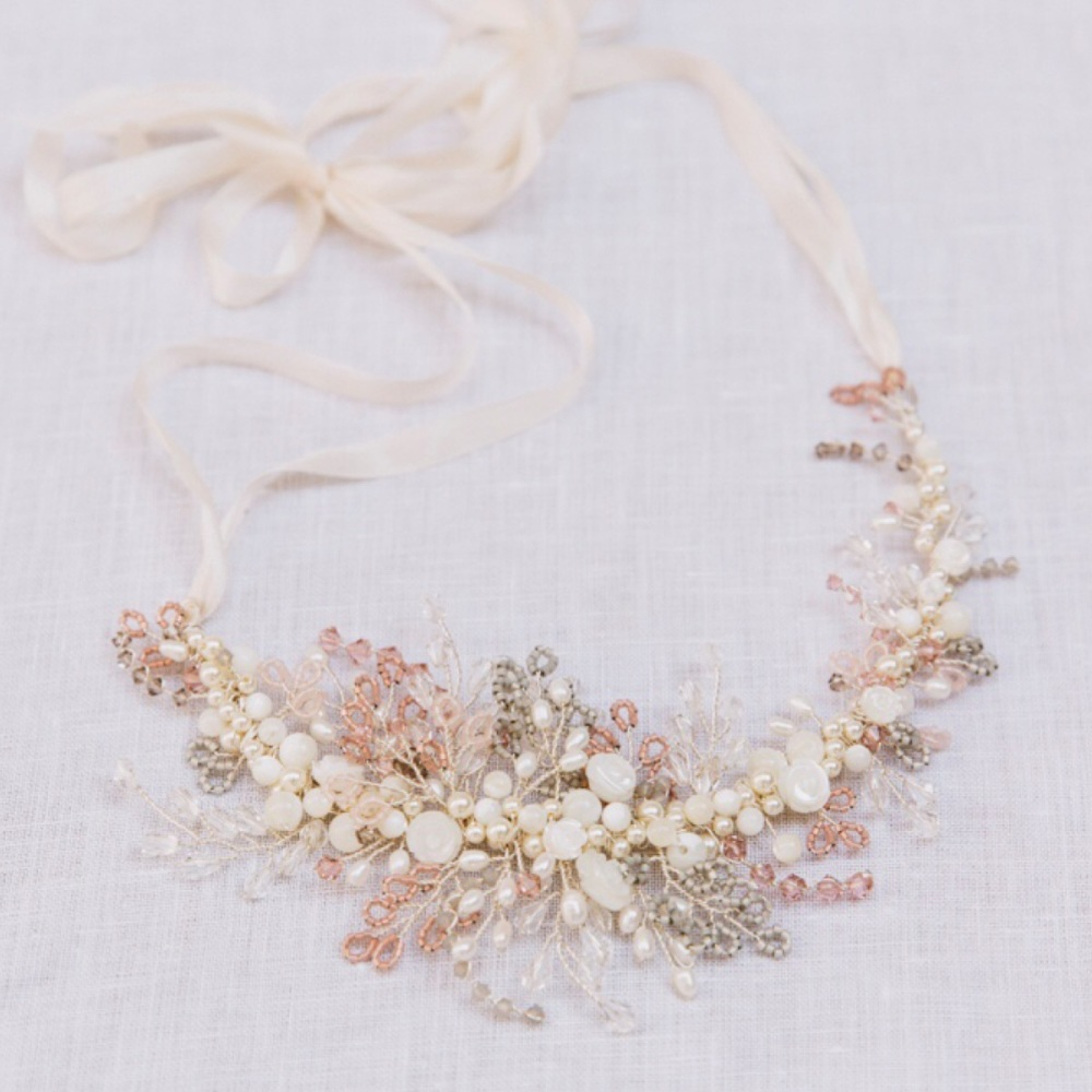 Rosa Grey and Blush Pink Headpiece and Necklace