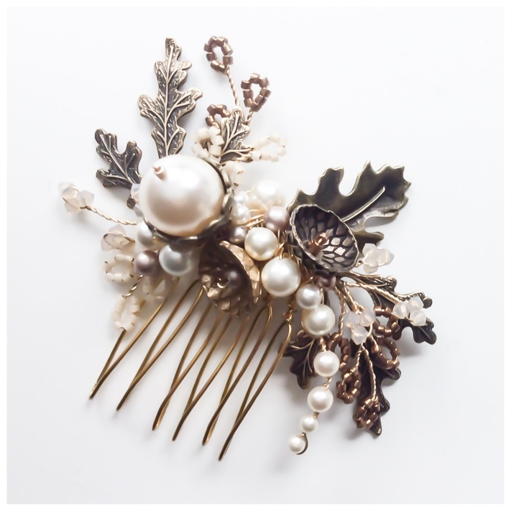 Aubrey Ornate Oak Leaves, Pearl and Crystal Hair Comb