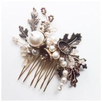 Aubrey Ornate Oak Leaves, Pearl and Crystal Hair Comb