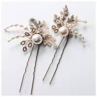 Aubrey Ornate Oak Leaves, Pearl and Crystal Hair Pins (2 pin set)