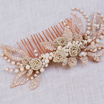 Autumnal Copper and Ivory Beaded Roses and Leaves Comb