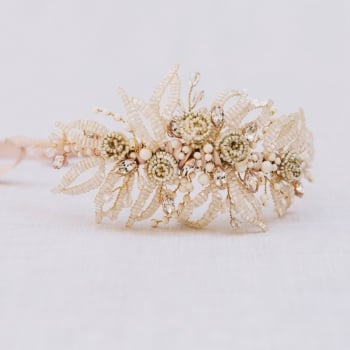IVORY LEAVES AND ROSES | Diamante Crystal Wedding Headdress