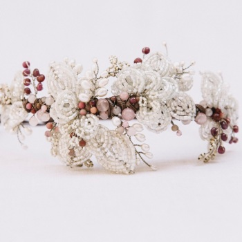 PRECIOUS RUBY | French beaded leaves and Rose Quartz Bridal Headdress