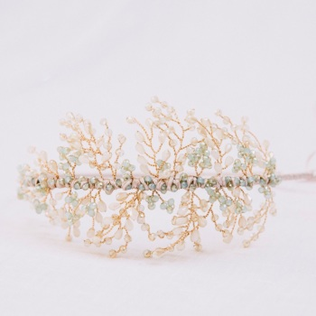 ROWAN | Delicate Pale Blue Crystal Botanical Bridal Headdress