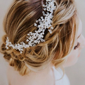 MIMOSA PEARL | Asymmetrical Wedding Headpiece and Bridal Hair Vine