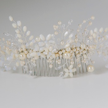 Large Ivory Blossom Hair Comb