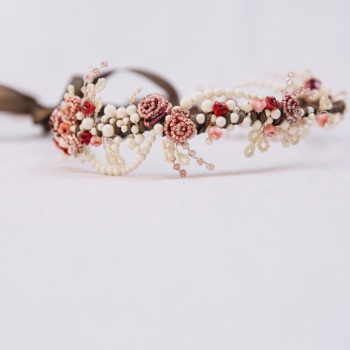 Midsummer Night's Dream Headdress Ivory and Rose