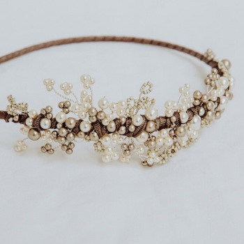 Mimosa Pearl Asymmetrical Headdress