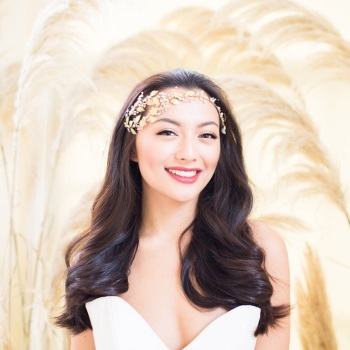THERA | Gold Grecian Asymmetrical Wedding Headpiece