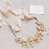 THERA |  Grecian Golden Leaf Crown and Statement Necklace
