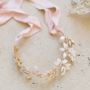 LEUCE | Hand Painted Statement Wedding Leaf Crown or Neckpiece