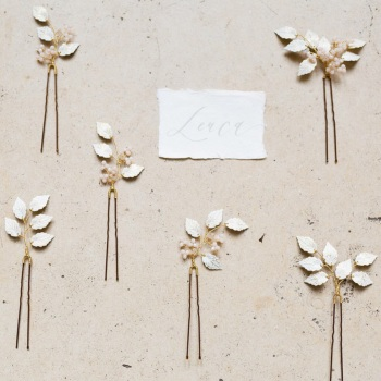 LEUCE | Reversible White and Gold Leaf Wedding Hair Pins
