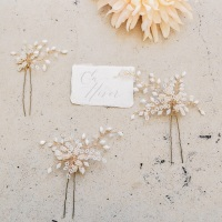 EN HIVER | Elaborately beaded Crystal Floral Bridal Hair Pin Set