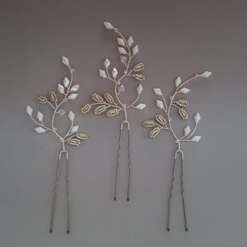 MIYUKI | Floral Statement Wedding Hair Pins (set of three)