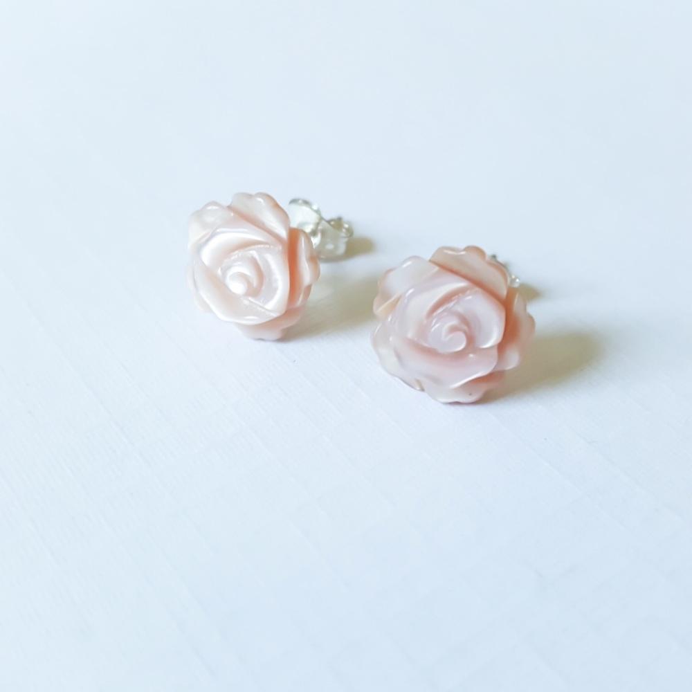 Blush Pink Rose Studs