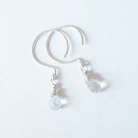 Sterling Silver Wire Wrapped White Topaz Earrings