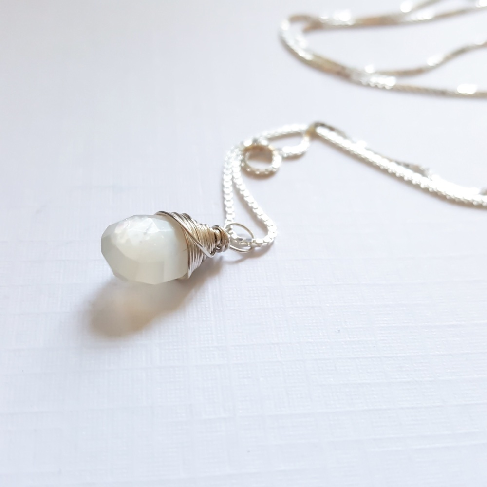 Sterling Silver Wire Wrapped White Moonstone Pendant Necklace