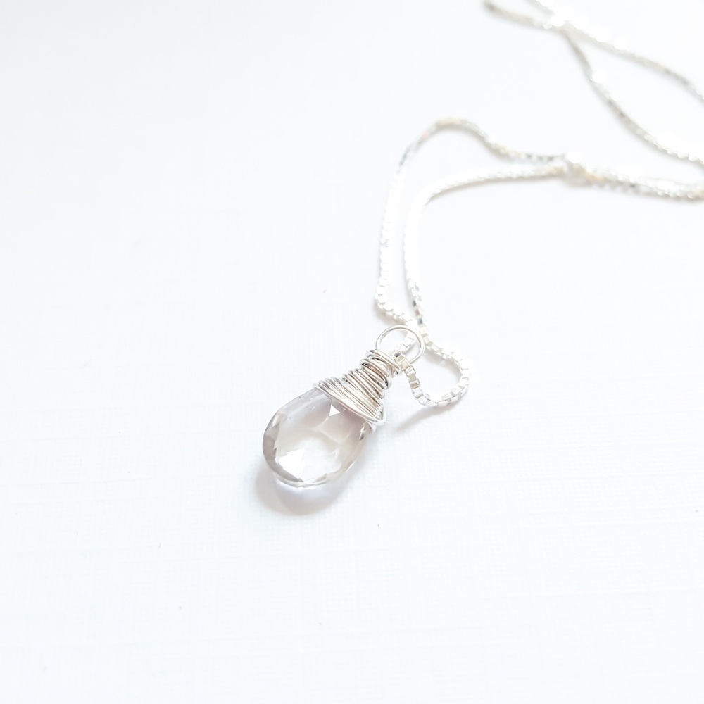 Sterling Silver Wire Wrapped White Quartz Pendant Necklace
