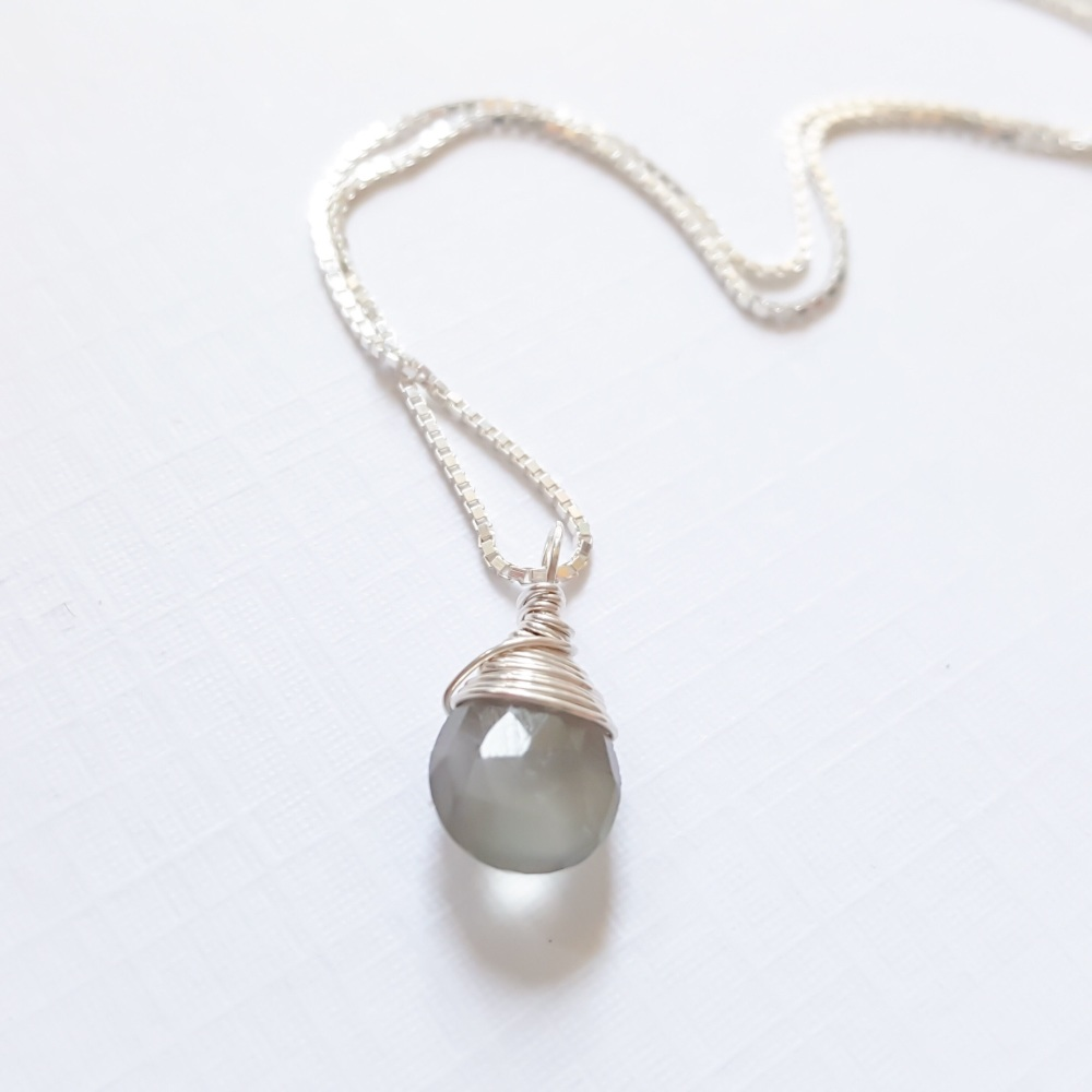 Sterling Silver Wire Wrapped Grey Moonstone Pendant Necklace