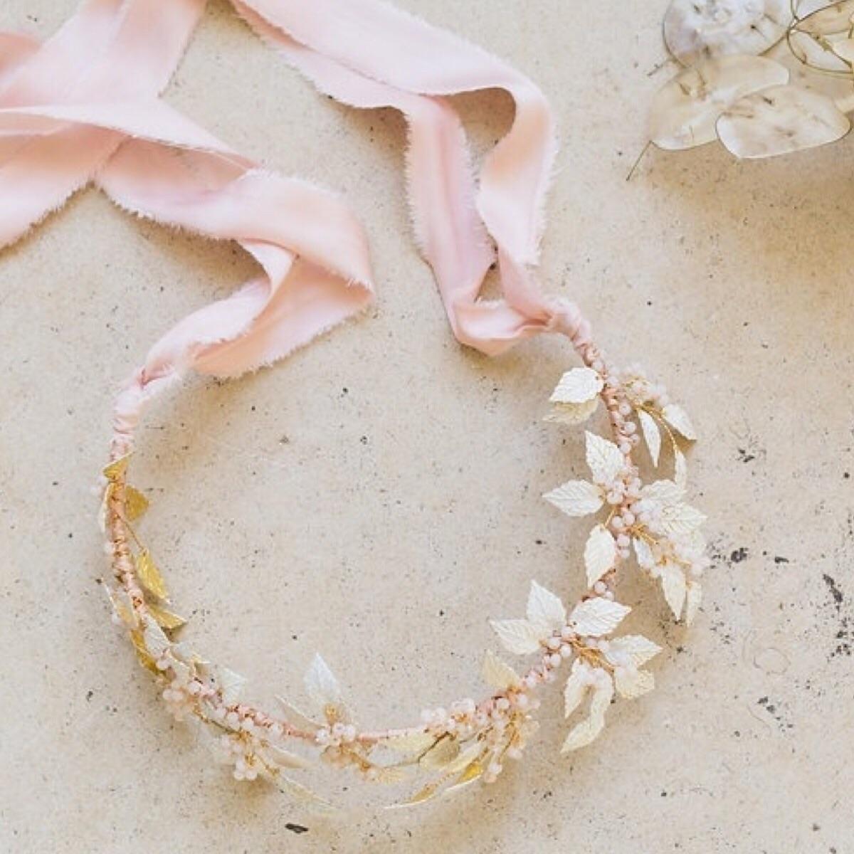 Leuce white enamel statement bridal crown
