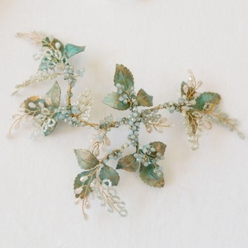 AURELIA | Verdigris Floral Wedding Headpiece