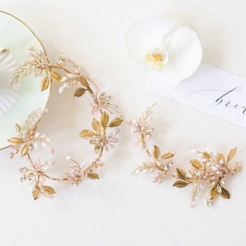 DELPHINII   Gold and Blush Pink Wedding Headpiece and Hair Vine