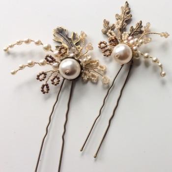 AUBREY | Ornate Oak Leaves, Pearl and Crystal Wedding Hair Pins (2 pin set)