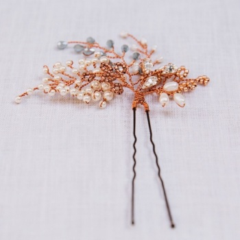 AUTUMN COPPER AND BLUE | Autumnal Copper Bridal Hair Pin