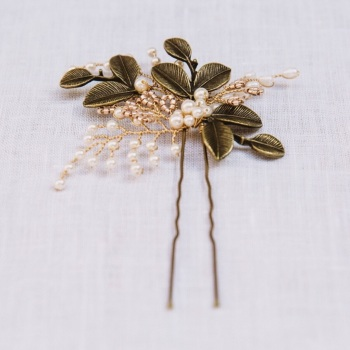 AUTUMN LEAVES | Autumn Gold or Silver Leaf  and Pearl Bridal Hair Pin