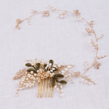 AUTUMN LEAVES | Gold Leaves and Pearl Wedding Hair Vine