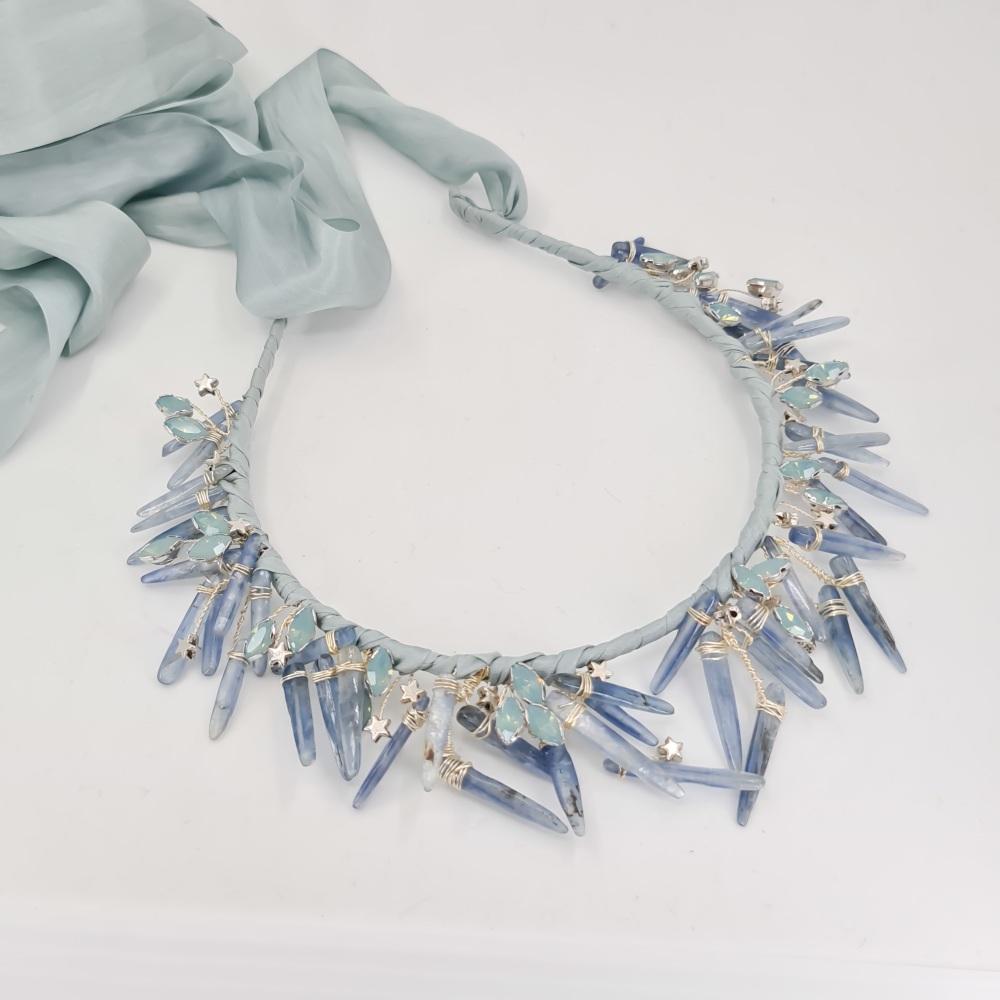 Blue Kyanite Crystal Crown