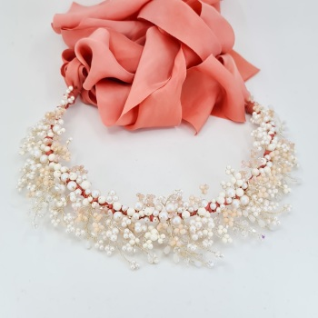 Coral and White Opal Spring Crown