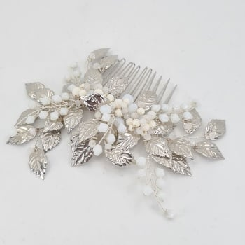 Silver Leaves and White Opal Hair Comb