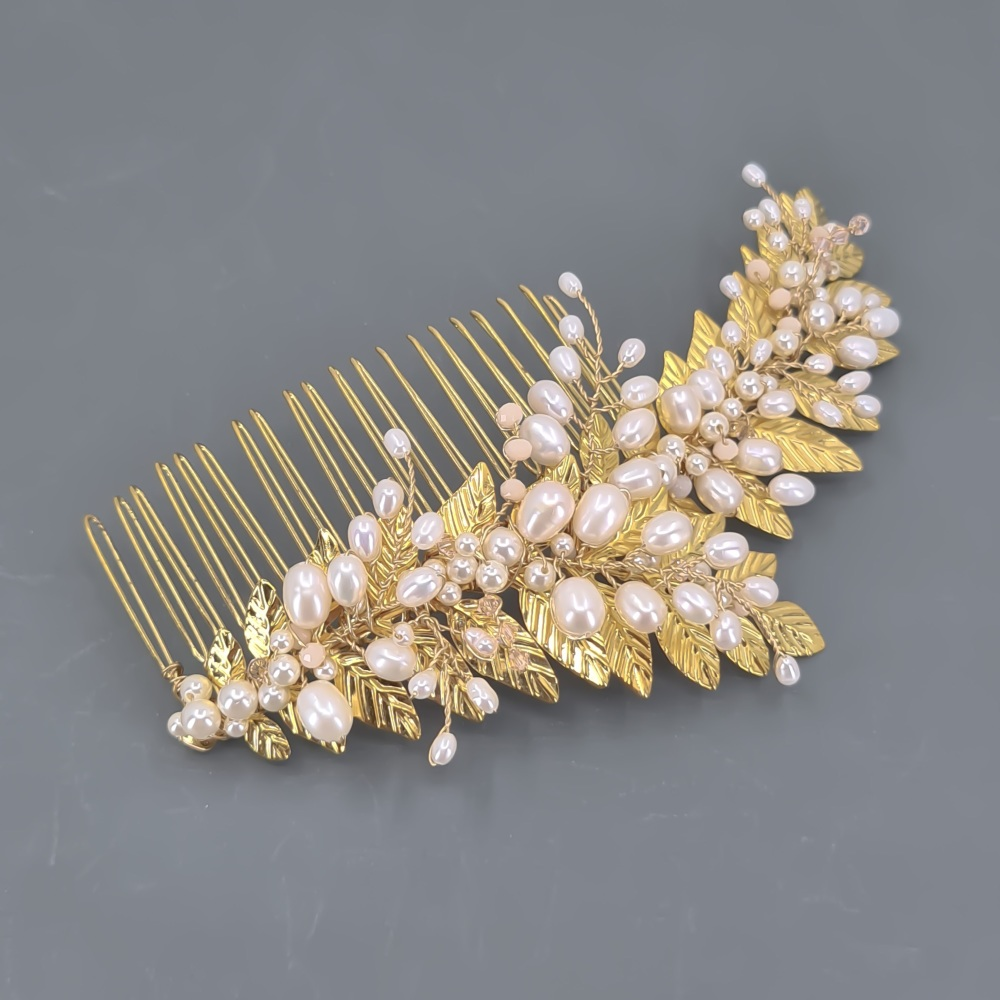 Gold Grecian Pearl Comb (large)