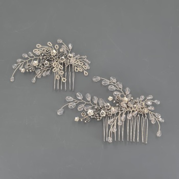 Pair of Crystal Floral Antique Silver Combs