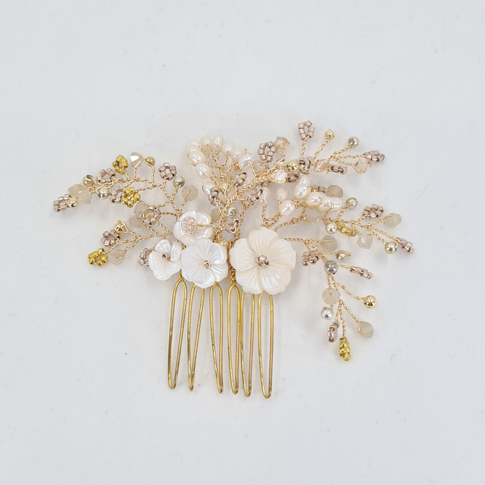 Small Gold Cherry Blossom Hair Comb