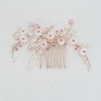 Tiny Rose Gold Daisy Hair Comb