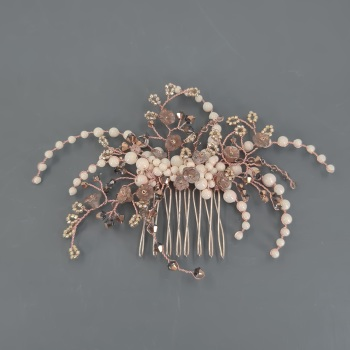 Rose Gold and Ivory Floral Hair comb