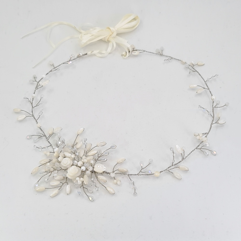 Gardenia Halo Hair Vine in Antique Silver
