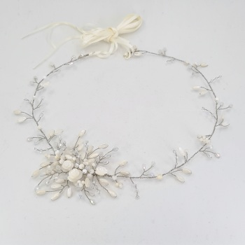 Gardenia Halo Hair Vine in Antique Silver