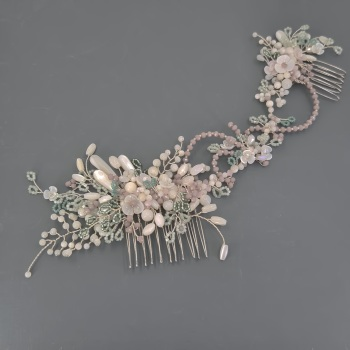 Pastel pink and green asymmetrical headpiece