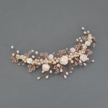 Small Blush Pink and Copper Rose Hair Vine