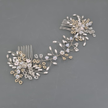 Winter Rose Headpiece in Silver and Pearl
