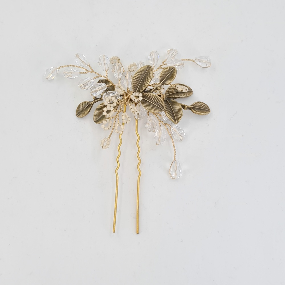 Autumn Leaves Pearl and Crystal Hair Pin