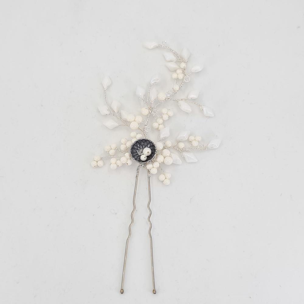 Winter White Hair Pin