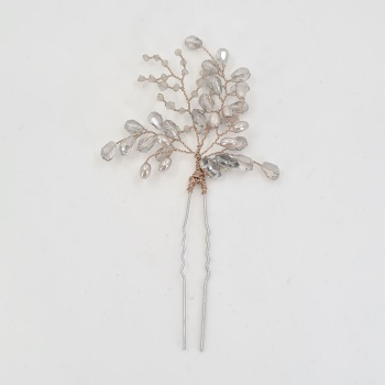 Fern Hair Pin in Antique Bronze And Grey