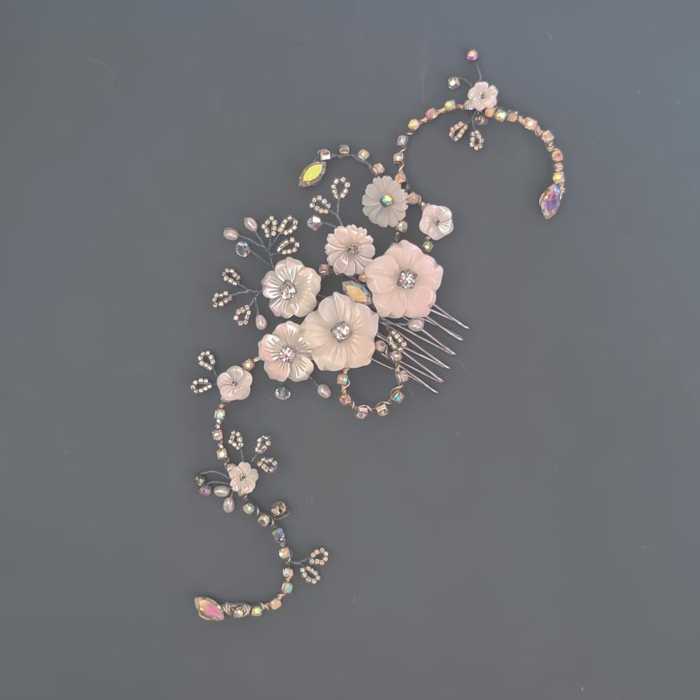 Silver Cherry Blossom and Diamante Hair Comb