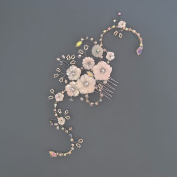Silver Cherry Blossom and Diamante Hair Comb